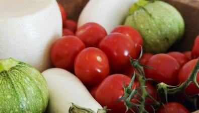 Cherry Tomato, Chloro Cheese, Kaltsouni & White Eggplant