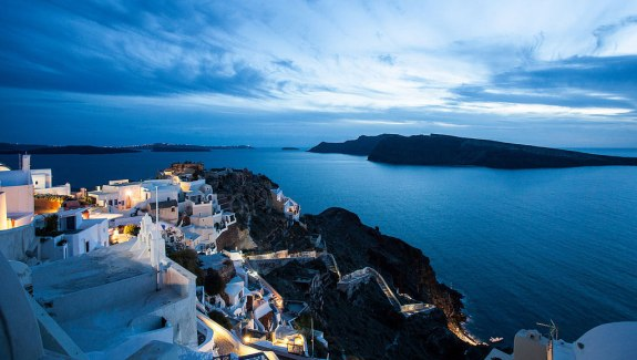 Oia Castle at evening time