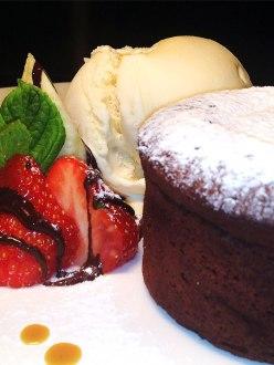 Chocolate Soufflé with Strawberries & Ice Cream