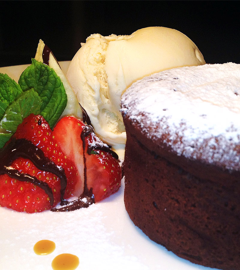 Chocolate Soufflé with Strawberries & Ice Cream