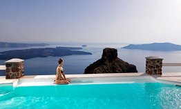 Tholos Resort Pool in front of Skaros Rock